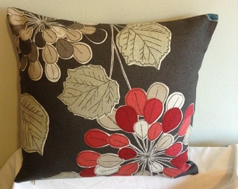 """Retro modern brown, red flowered 16"""" x 16"""" cushion cover, scatter cushion, pillow case"""