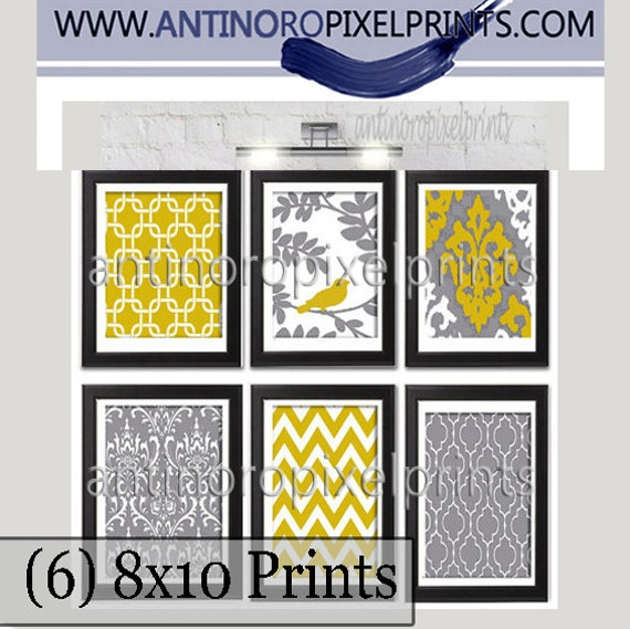 Mustard Yellow Grey Ikat Damask Wall Art Set of 6 8x10