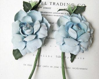 2 Antique Vintage Blue Gardenia w/Bud Millinery Hat Flower UNUSED