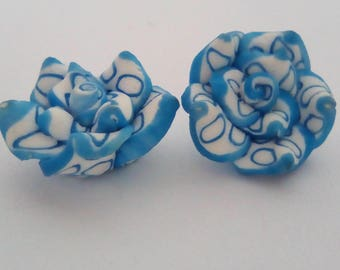 10 pearls fimo flower blue white 15x10mm