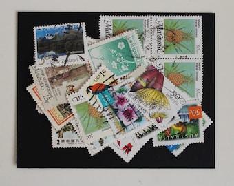 25 Nature Postage Stamps (Used) - Vintage Paper Ephemera