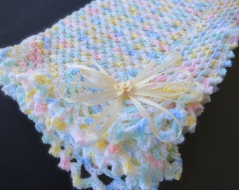 Multi-Colored Hand Knit Crochet Afghan Baby Blanket