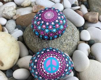 Beautiful Mandala & Peace Rock Set of 2