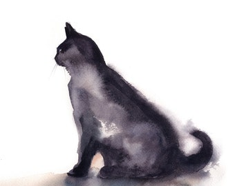 Minimalist cat art print, cat watercolor painting art, fine art print of cat, cat modern wall art print, watercolor print of cat