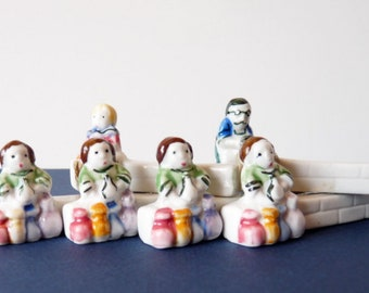Vintage French Porcelain knife rests, Set of 6 Handpainted Figurine Knife Rests,  Table Décor, Retro