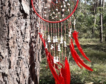 Dream catcher, white Agathe, gemstone, Dreamcather, red pheasant feather, Czech glass beads