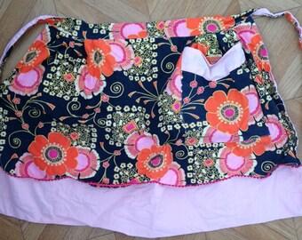 Vintage orange pink reversible skirt apron