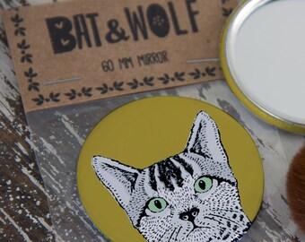 Illustrated Cat Pocket Mirror