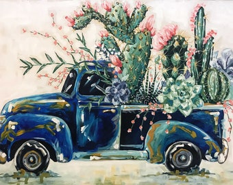 Succulent Pickup Truck Print on Canvas