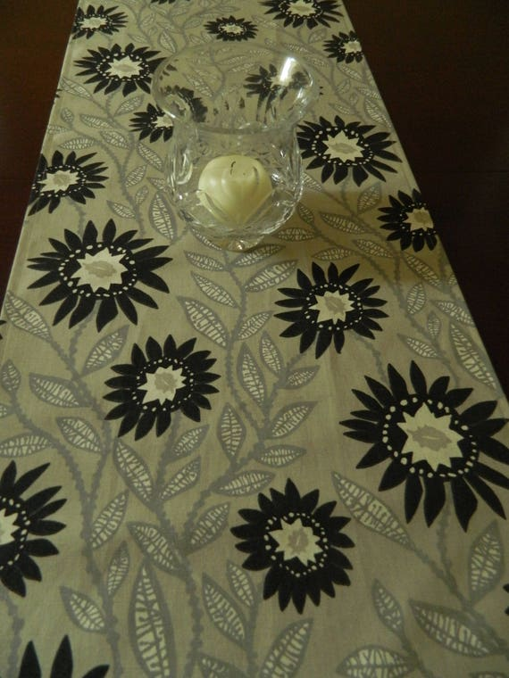 Floral Black And Grey Nature Tattoo: Black Natural And Grey Table Runner. Floral Print Runner