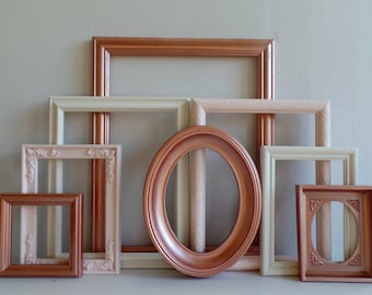 Rose Gold Blush And Cream Custom Picture Frames Set - Vintage Ornate - Baby Nursery - Shabby Chic - Distressed - Gallery Wall - Wedding
