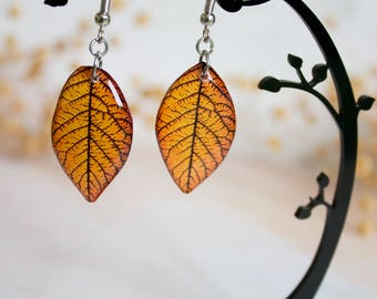 Orange Resin Leaf - Leaf Earring - Leaves Earrings - Print Jewelry - For Nature Lovers - Nature Inspired