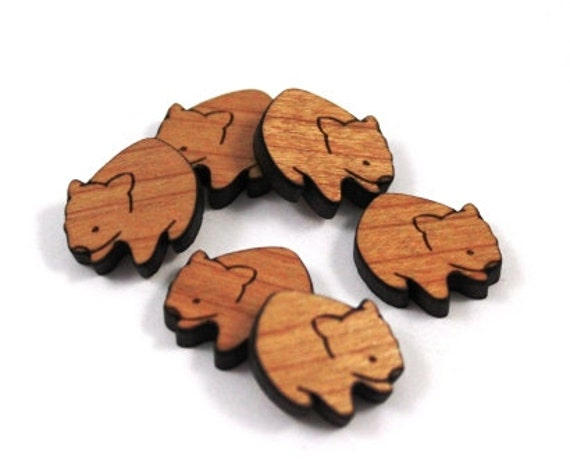 Laser Cut Supplies-8 Pieces.Wombat Charms -Laser Cut Wood Wombat -Earring Supplies- Little Laser Lab Sustainable Wood Products