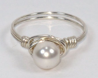 Sterling Silver and Swarovski White Pearl Ring