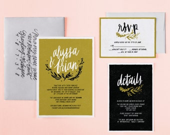 Woodland Wedding Invitation Suite | Custom Wedding Lettering | Yellow Typography Hand Written Invites | Entirely Custom Invitation Design