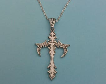 Sterling Silver Gothic Cross Necklace