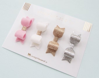 Girl/baby Fine Glitter Fabric and Wool Felt mini hair bow clip set Gold, Silver, White and Pink 100% Wool Felt