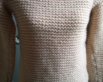 handmade sweater light pink in big wool , size 38/40 (small)