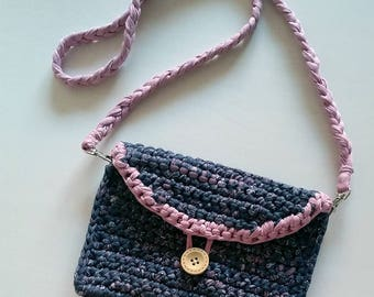 Pink and Grey crochet Clutch, bag