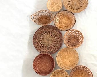Basket Wall, Set of 10 Baskets, Boho Wall Decor, Vintage Baskets, Woven Basket Collection, Basket Set,Basket Wall Art,Boho Art,Bamboo Basket