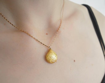 Gold Leaf Gilded Clam Shell Necklace