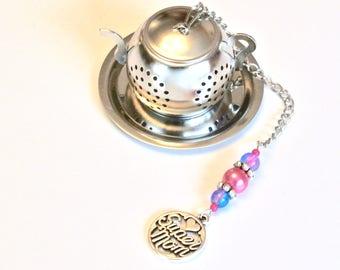 Mom Tea Infuser, Mother's Day Tea Infuser, Super Mom, Pink & Blue Beaded Mesh Tea Ball, Tea Party, High Tea, Mad Hatter, Charm Tea Infuser