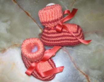 copper Tangerine striped baby booties