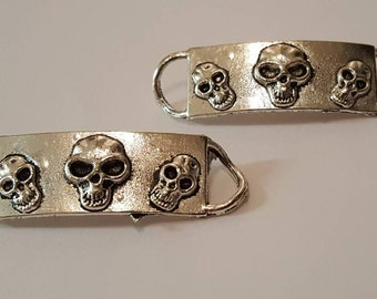 Silver Skull Bracelet Connectors/Jewellery Making/Arts/Crafts/X 2
