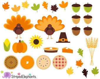 Thanksgiving Clipart, Thanksgiving Digital Clip Art - Instant Download - Commercial Use