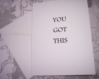 You Got This..All Occasion Note Cards Set Of 10 Blank Inside