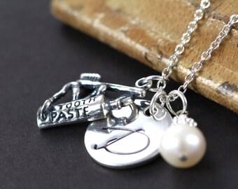 Dental Hygienist Necklace, Dentist Necklace, Dental Assistant Jewelry, Graduation Gift, 925 Sterling Silver