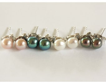 4 pairs 5.0 - 5.5mm Blue/Pink/White/Black Cultured Freshwater Pearl Stud Earrings in Sterling Silver
