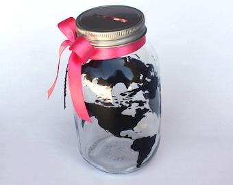 Globe Bank, World Travels Fund, Vacation Savings Bank, Customizable Mason Jar, Personalized Map, Trip Fund, Vacation Piggy Bank, Wanderlust