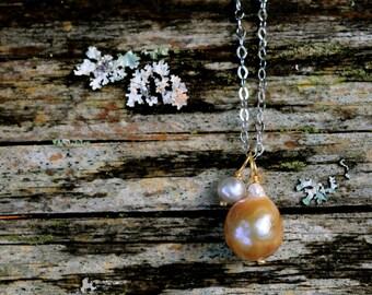baroque pearls pendant necklace, 2 baroque pearls on silver chain necklace, gold baroque pearls, handmade, ooak