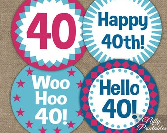 40th Birthday Cupcake Toppers - 40th Birthday Toppers - Printable Hot Pink Blue 40th Birthday Decorations - 40th Anniversary Cupcake Toppers