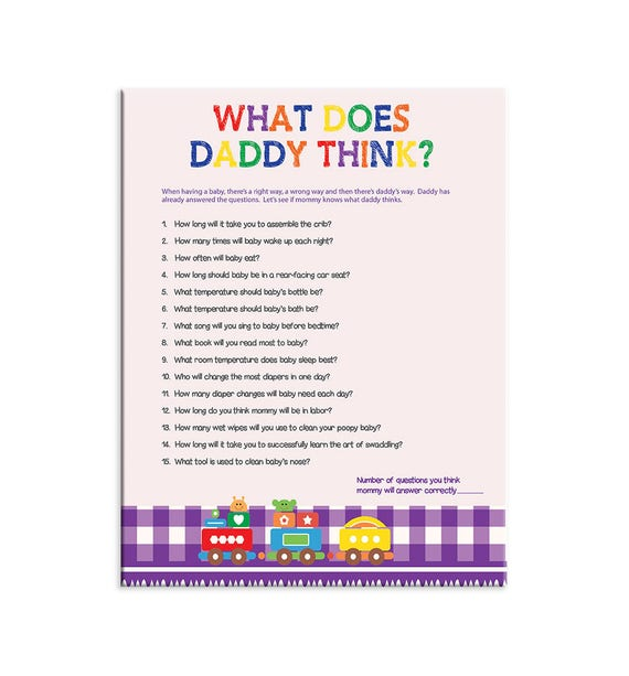 Printable Baby Shower Game What Does Daddy Think