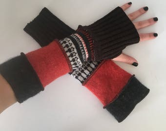 Upcycled fingerless, texting, driving, gloves, wrist warmers, repurposed