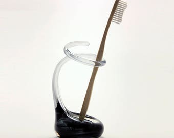 Smoky Grey Glass Toothbrush Holder - Made on Request