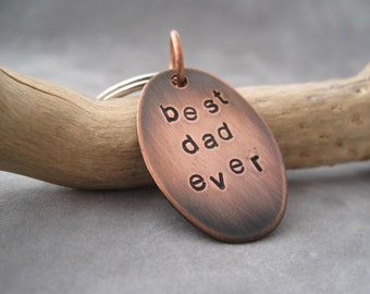 SALE - LAST ONE - Dad Keychain - Gift For Him - Stamped Key Ring