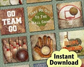Sports Vintage Printable Squares / Football Baseball Basketball Bowling Golf Athlete - DOWNLOAD 1x1 Inch Squares Digital JPG Collage Sheet