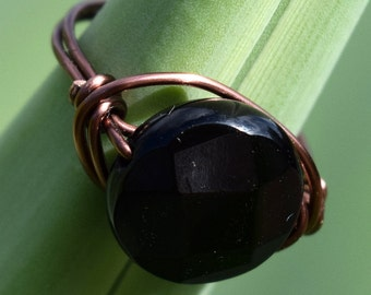 Wire Wrapped Ring, Antique Copper Wire with Disc, Faceted Onyx,Jewelry, Wire Ring, Solitaire Ring