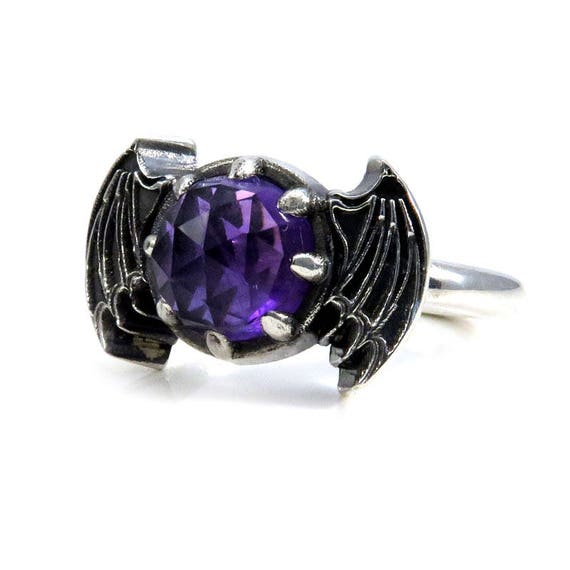 Rose Cut Amethyst Bat Wing Gothic Engagement Ring - Sterling Silver Victorian Fine Jewelry