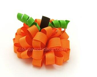 Pumpkin Loopy Puff Bow for Girls, 3 inch Pumpkin Puff, Autumn, Children, Toddlers, Orange 3D Pumpkin Bow, MTMG Pumpkin Harvest Gymboree Fall