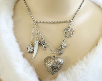 Silver Tone Puffy Heart and Cherub or Cupid and Hearts Vintage Charm Necklace