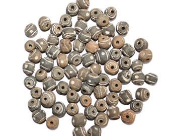 10 mm Round African Clay Beads in Natural Earthy Tones, 20 Pack