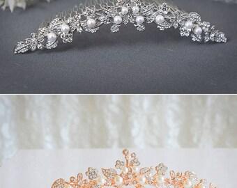 TIMOTHEA, Vintage Style Wedding Tiara, SWAROVSKI Crystal Rhinestone and Pearl Bridal Crown, White or Ivory Wedding Bridal Hair Accessory