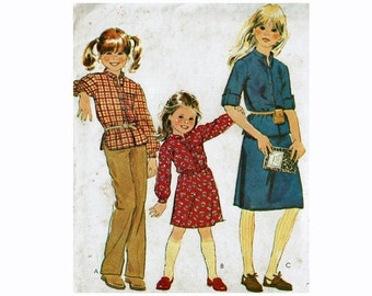 1970s Girls Pullover Top and Skirt McCalls 6751 Size 8 Breast 27 Uncut 70s Sewing Pattern