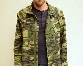 Camouflage jacket, Men outerwear, Military jacket, Army overcoat, Olive green coat, Khaki green outdoor jacket, Winter jacket, Hunting, M/L