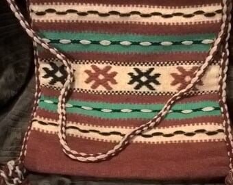 Vintage hand woven wool carpet bag from Greece