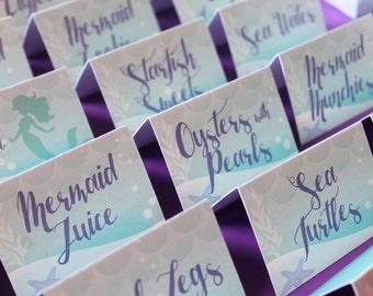 Little Mermaid Printables/Mermaid Food Tags/Little Mermaid Food Tags, Mermaid Table Tents, Under the Sea Food Tags, Place Cards, DIGITAL